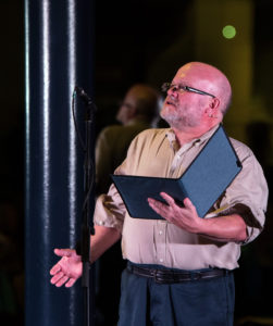 David Hallett performs a dramatic reading during the bicentennial celebration.