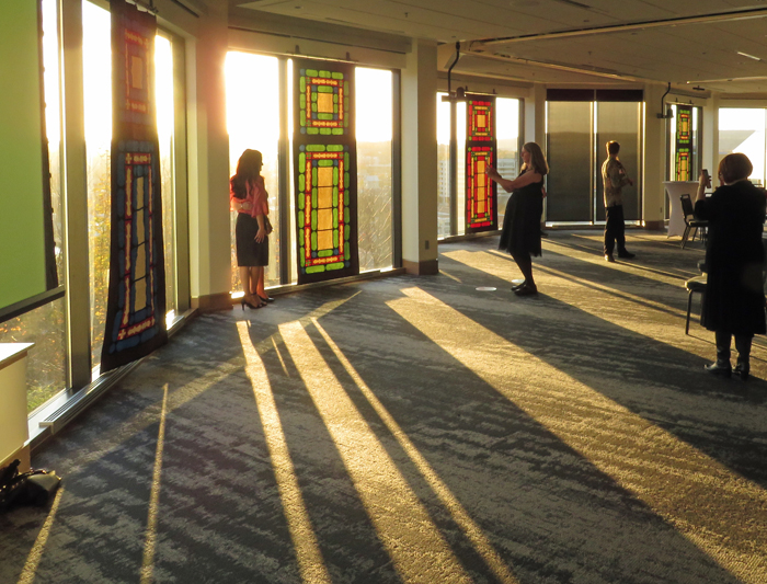 Light streams through quilted panels at the Signal Hill campus of Memorial University on Nov. 2 following a celebration of the Bicentennial of the Birth of the Bab. The panels were inspired by stained glass windows in the home of the Bab in Shiraz, Iran.